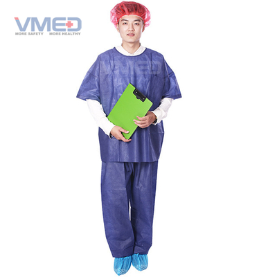 Disposable SMS Non-woven Scrub Suite With Round Neck And Short Sleeves