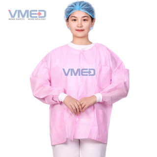 Pink Disposable Non-woven Protective Lab Coat