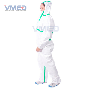Disposable White Micro-porous Protective Coverall With Green Strips