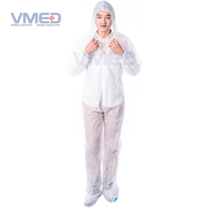 Disposable SPP White Coverall With Hood And Boots