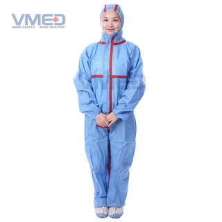 Disposable Blue SMS Coverall With Red Strips