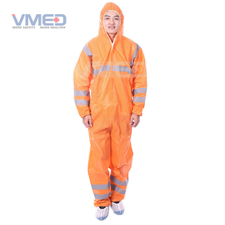 Disposable Orange SMS Protective Coverall With Grey Strips
