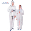 Disposable Type 5&6 SMS White Coverall With Black Adhesive Strip