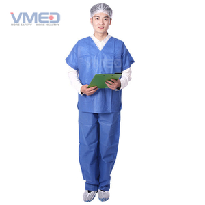 Disposable SMS Non-woven Scrub Suit With V Neck And Short Sleeves